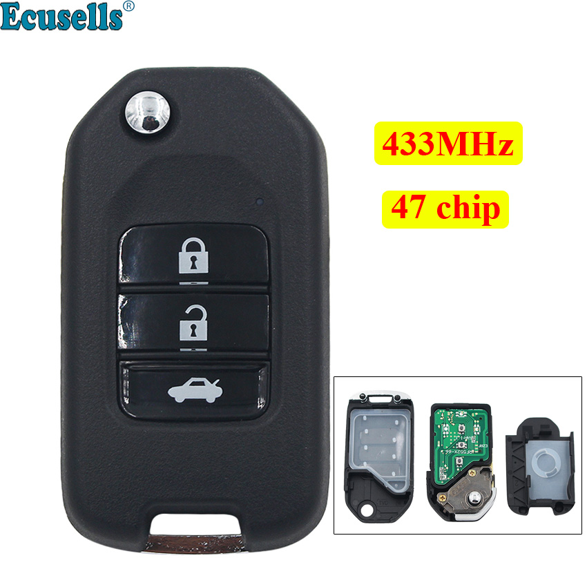 3 Buttons Remote Key 433MHz Fit For Honda NEW ACCORD FIT XRV CITY GREIZ With ID47 Electronic Chip With G Type