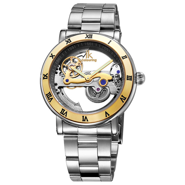 Ikcolouring Automatic Mechanical Watches Men Brand Luxury Rose Gold Case Stainless Steel Skeleton Transparent Watch Men's watc