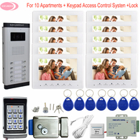 7inch Doorphone Call Panel For 10 Apartments Monitoring Camera System Keypad Access Control Outdoor Intercom + Electric Lock Kit