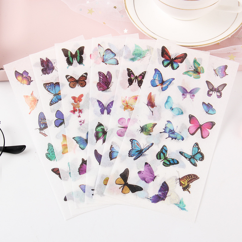 6 Sheets/Pack Kawaii Flying Butterflies Washi Sticker Computer Decor School Student Stationery