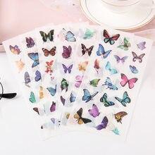 Adesivos de borboletas voadoras, 6 folhas/pacote, decoração de computador, aluno, escola, papelaria
