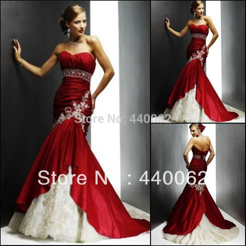 Robe de mariée de Maria tailleur faire élégante robe de mariée sirène sans bretelles en dentelle taffetas rouge 2018 nouveau Style Vestido de Noiva