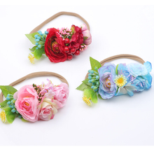 купить Spring floral Headband Hair Accessories bay Beach Flower Hair Bands Headband for Girls Elastic Flower Crown Headband дешево