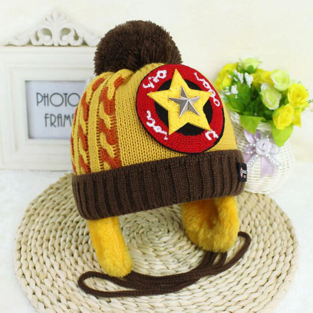 Captain Hat Five-pointed star Child Wool Cap Keep warm Baby Winter Velvet hat  Infant cbbd8ee4219