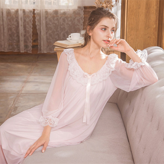 Modal Mesh Lace Long Sleeve Long Night Gown Dress Women\'s Nightgown ...
