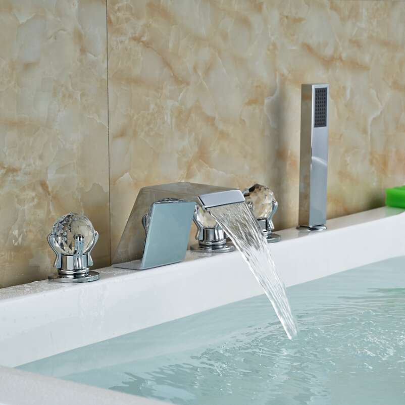 Contemporary Deck Mount Widespread Bath Tub Faucet with Arm Pull Out Handheld Shower Head Waterfall Spout