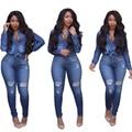 2017 new 2 piece set women denim bodysuit long sleeve button fashion ladies pants suits for women denim hole jeans
