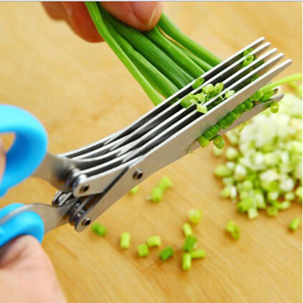 5 Sharp Blades Scissors Vegetable Slicer Scallion Onion Cutter Multipurpose Stainless Steel