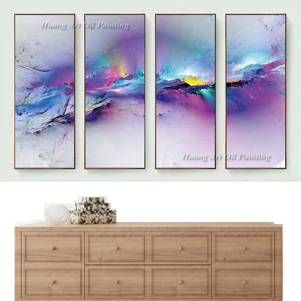 Modern Paintings For Living Room Aliexpresscom Buy 2017 New Hand Painted Abstract 4p Color Oil