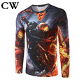 2017 Brand CW Gentleman personality T SHIRT skeleton warriors flame long-sleeved men T-shirt printing cultivate one's morality
