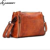 Wipe color Women Bags first layer cowhide vegetable skin tree cake leather retro female Handbags fashion messenger shoulder bag