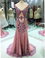 Long Evening Dress 2018 Luxurious Mermaid V Neck Crystal Beaded Backless Blush Women Formal Evening Prom Gowns Robe De Soiree