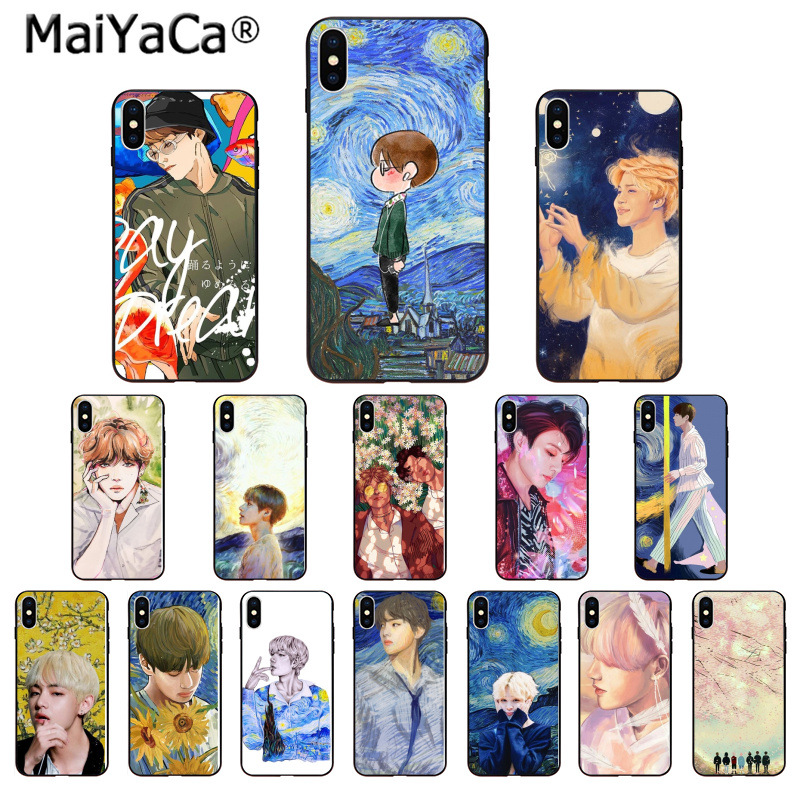Phone Bags & Cases Discreet Maiyaca Colorful Oil Painting Bts And Taehyung Van Gogh Novelty Fundas Phone Case For Iphone 8 7 6 6s Plus 5 5s Se Xr X Xs Max To Have A Long Historical Standing