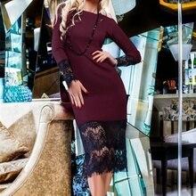 Yeni Varış 2016 Hanımefendi Seksi Elbiseler Bayanlar Parti Gece Kulübü Diz Boyu Dantel Balo Bodycon Elbise