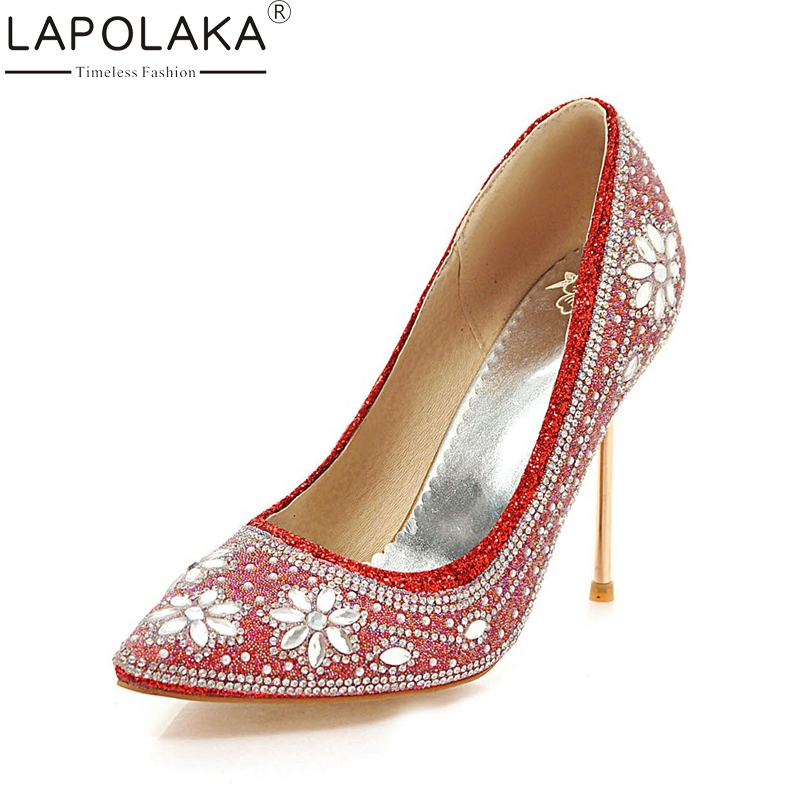 LAPOLAKA Large Size 33-48 Sequined Cloth Pointed Toe Thin High Heels Shoes Woman Crytal Bling Decoration Party Pumps