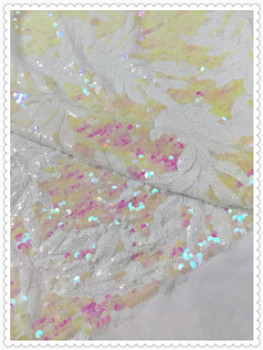2016 African sequins lace new Design white and pink color  Net Lace Fabric, Nigerian French Guipure Cord Lace five yards jy