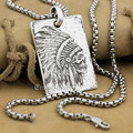 Fashion High Precision Deep Engraved Character Tags Solid 925 Sterling Silver Cool Men's Biker Indian Chief Skull Pendant  9X002