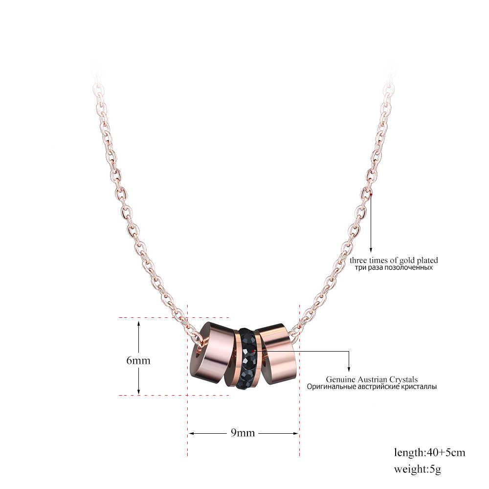 Lokaer 316L нержавеющая сталь 3 шт. круги колье из горного хрусталя ожерелье для женщин Роза заявка на цвет золота ожерелье s ювелирные изделия colar