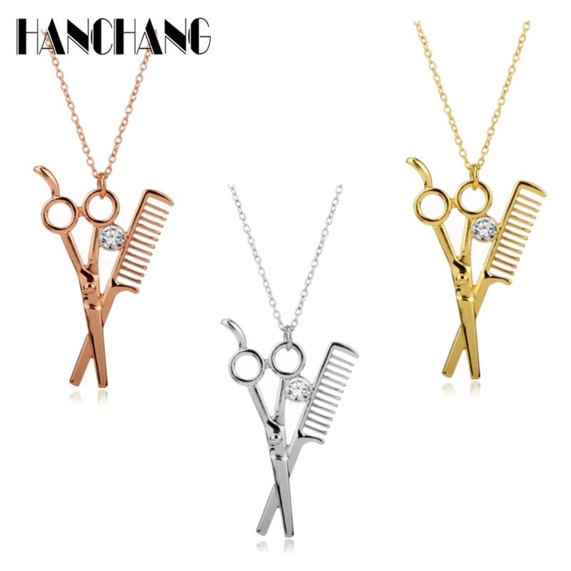 HANCHANG Barber Shop Hair Dresser Rhinestone Scissors Shears Pendants Necklaces accessories men Jewelry colar collares