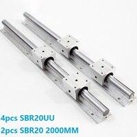2pcs SBR20 20mm L 2000mm support rail linear guide + 4pcs SBR20UU linear blocks CNC parts linear rail guide