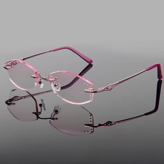 Luxuoso liga frame ótico titanium diamante corte cut mulheres estilo do quadro sem aro óculos com lentes gradiente matiz