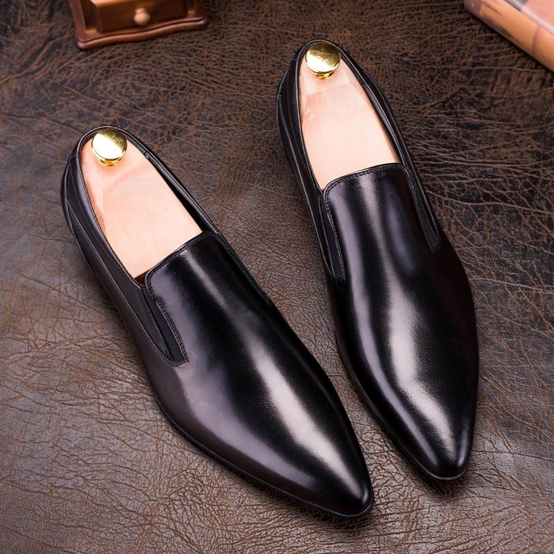 PJCMG nueva moda cómodo negro/rojo cuero genuino banda elástica punta puntiaguda plano hombre Casual clásico Caballero zapatos-in Zapatos formales from zapatos    2