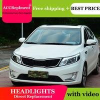 Car Styling for Kia K2 LED Headlight Korea Style Rio Headlights DRL Lens Double Beam H7 HID Xenon bi xenon lens