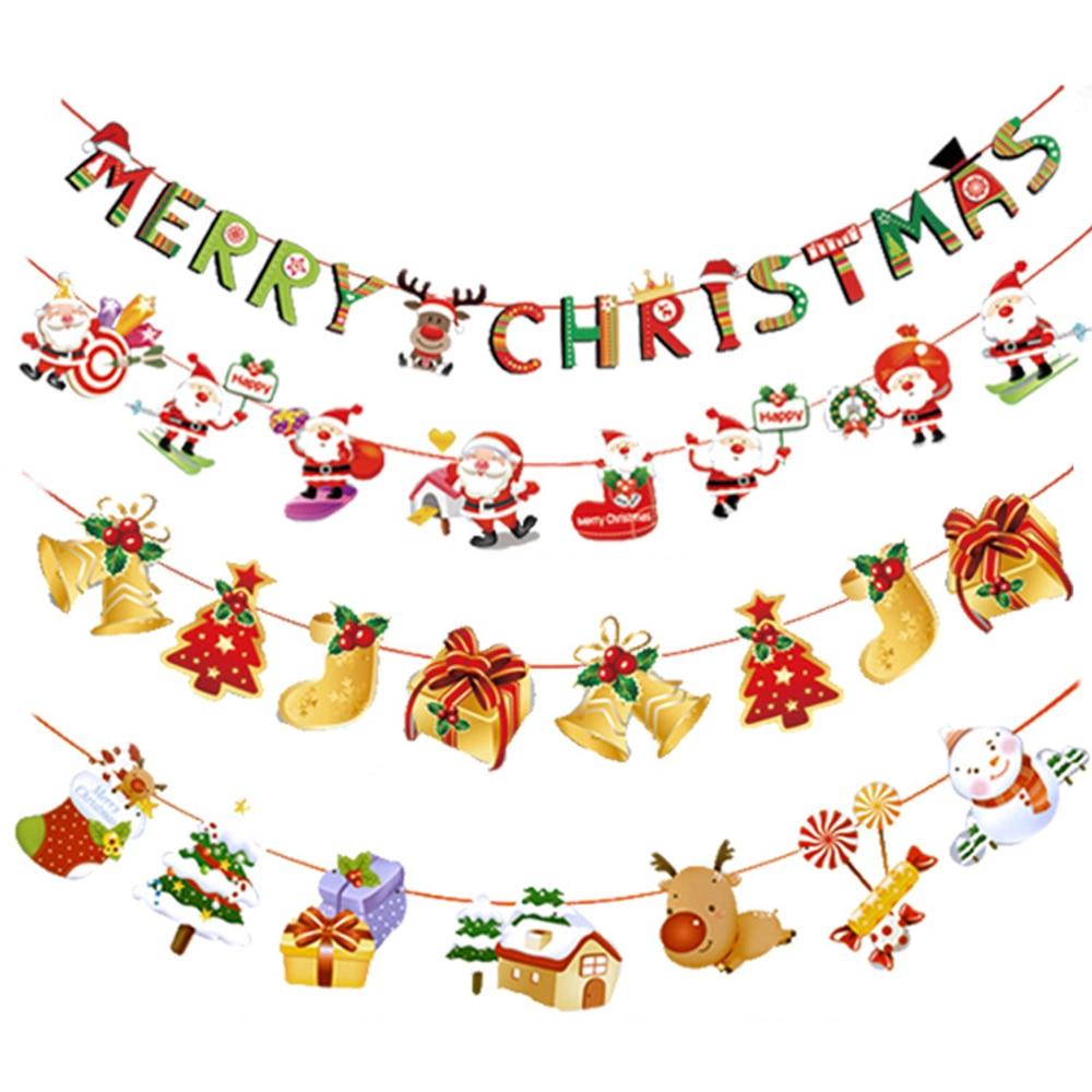 DIY Christmas Party Hanging Decor Snowman Santa Claus Elk Sock Banner Xmas Gift