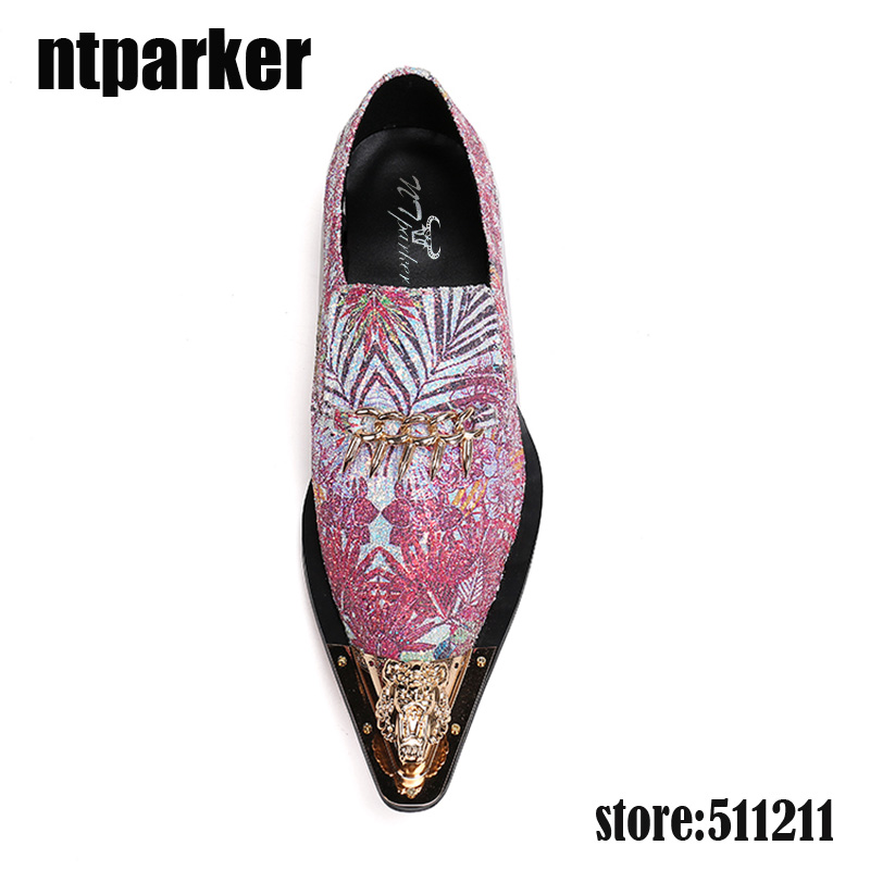 e0db28e1ef ntparker Italian style mens shoes brands mixed color glitter prom shoes  pointy summer genuine leather formal shoes men