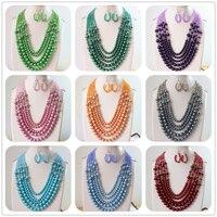 5 ряда хрусталя разноцветные счеты граненый круглый имитация shell жемчужные бусы Подвески дизайн серьги ожерелье 20-25.5