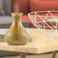 Air Humidifier Electronic LED Air Purifier 400ML Ultrasonic Aroma Diffuser Portable Wood Grain Essential Oil Purifier