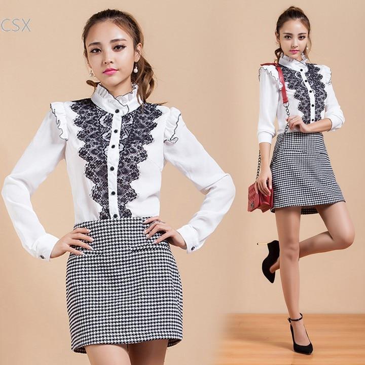 New Fashion OL Shirt Long Sleeve Blouse Lace Patchwork Shirt Plus Size Women Blouse Drop Shipping #12