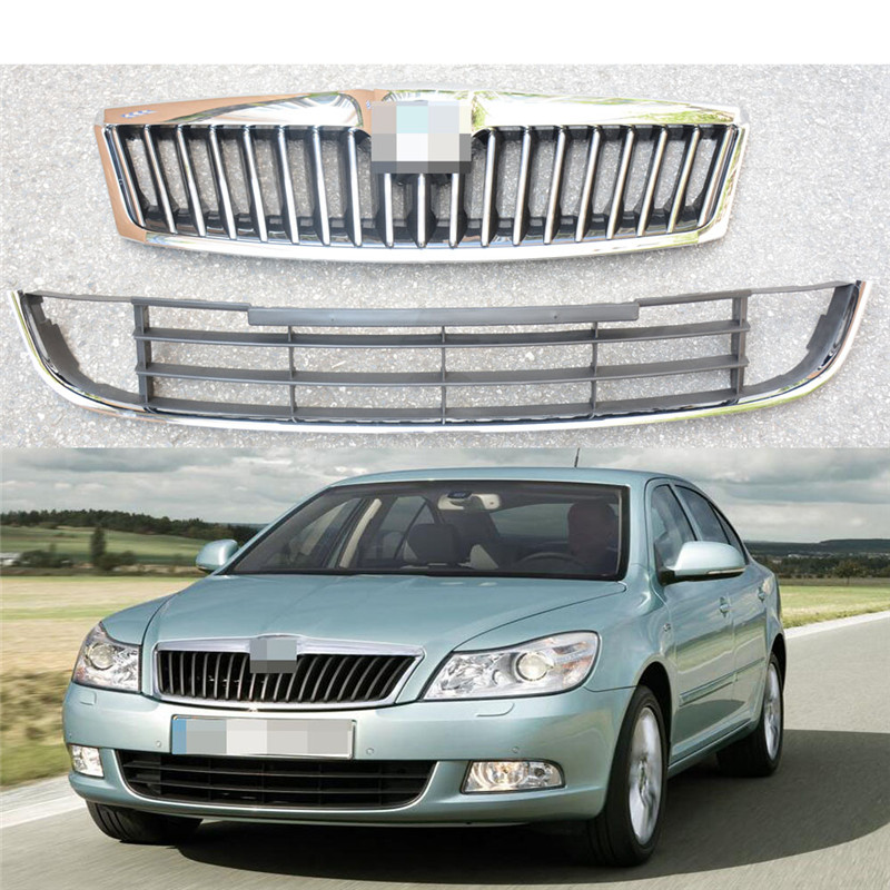 2Pcs ABS Chroem Front Bumper Mesh Radiator Grilles Grill Upper & Lower For Skoda Octavia 2009 2012