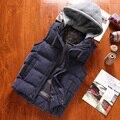 Moda inverno chapéu destacável de algodão acolchoado sem mangas colete homens slim fit dos homens quentes colete chaleco hombre men's clothing mj5