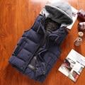 Winter fashion hat detachable cotton padded sleeveless vest men slim fit warm mens vest chaleco hombre men's clothing MJ5