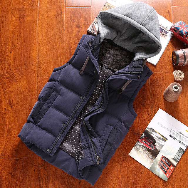 Winter fashion hat detachable cotton padded sleeveless vest men slim fit warm mens vest chaleco hombre men's clothing MJ5