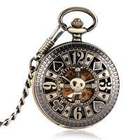 Vintage Bronze Poker Hollow Skull Copper Automatic Mechanical Pocket Watch Chain Skeleton Steampunk Men Women Gift