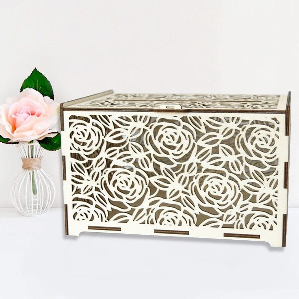 DIY Wedding Gift Card Box Wooden Money Box With Lock Beautiful Wedding Decoration Supplies For Birthday Party New 30x24x21cm