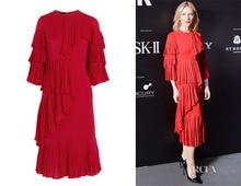 Women Brand Runway Layers Of Frills Silk Satin Georgette Ruffle Rise Of The Red Cascading Ruffle Draped Dress