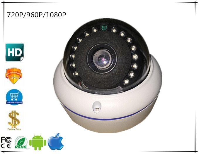 Ip Antiriot Dome Camera 720p/960p/1080p 15 Leds Metal Infrared Irc Nightvision Audio 48v Poe Onvif Cms Xmeye Exquisite In Workmanship