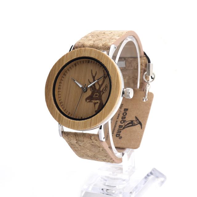 Bobo bird e20 marca de reloj de cuarzo de lujo de bambú de madera deer diseñador reloj de madera con base de acero inoxidable en caja de regalo