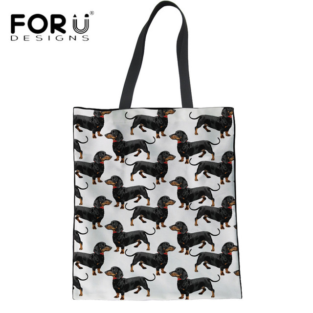 6cff99326f FORUDESIGNS Cute Dachshunds printing Women Summer Beach Bags Casual Large  Linen Ladies Girls Recycle Shopping Bags Tote Handbags