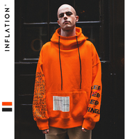 INFLATION Oversized Letter Sleeve Drawstring Hoodies 2018 Autumn And Winter Brand Sweatshirts Men Loose Streetwear Hooded 8795W