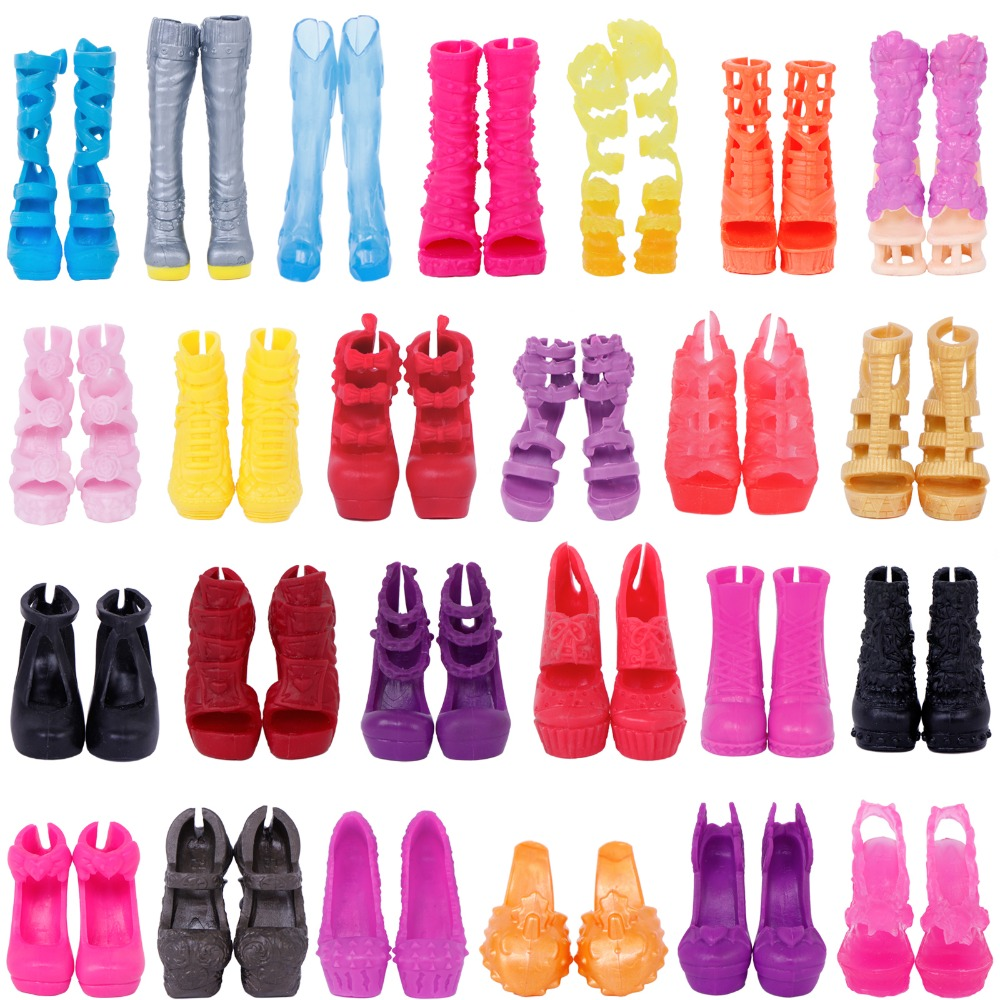 5 x Fashion Doll Shoes Mixed Style High Heel Sandals Dress Up DollHouse Plastic Accessories For Monster High Dolls Kid Toy Gifts 500pairs lot wholesale high quality high heel shoes for 30cm dolls mixed styles sandals slippers 10pairs pack doll shoes pack