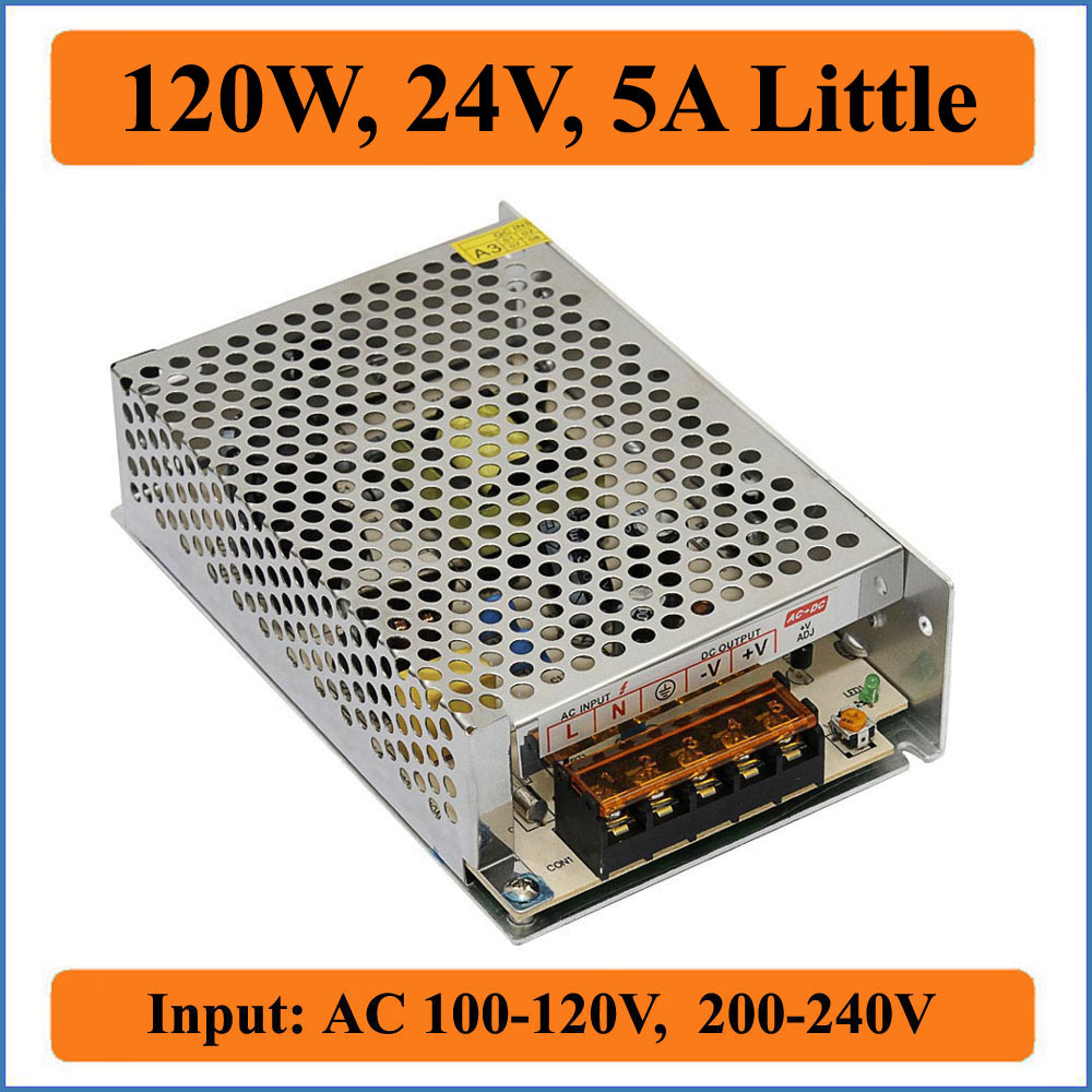 120W 24V 5A Little Switching Power Supply AC100-240V input to DC 24V output Converter Voltage Transformer for LED Strip lights 24v 12 5a 150 w switch power supply driver switching voltage transformer for led strip ac 220v input to dc 24v tool