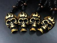 FREE SHIPPING 8 pcs gothic tibet Personality ghost fire skull biker necklace