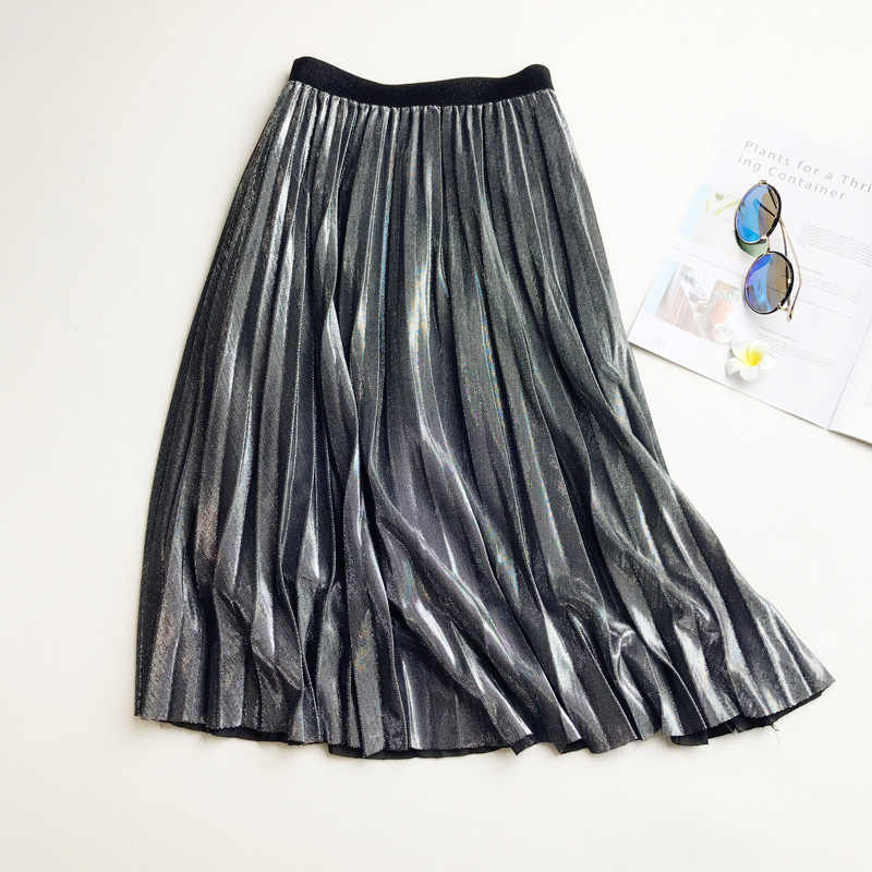2019 Spring Shining Skirt gold silver Long striped elasticity Pleated Skirts Womens High Waist Saias Midi Faldas Party Skirts