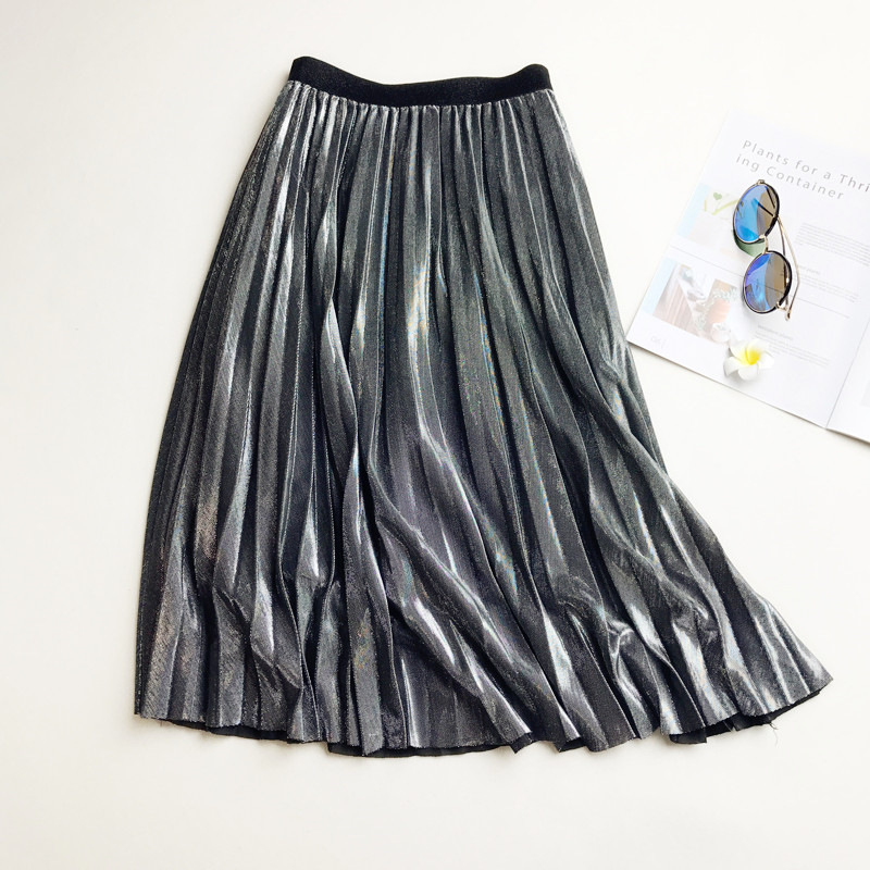 2020 Spring Shining Skirt gold silver Long striped elasticity Pleated Skirts Womens High Waist Saias Midi Faldas Party Skirts