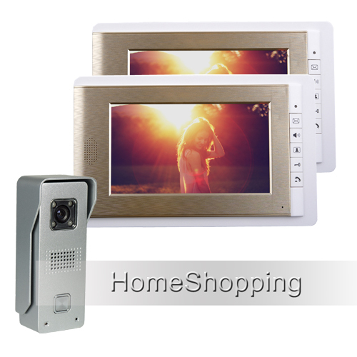 FREE SHIPPING Wired 7 TFT Color Video Door phone Intercom System With 1 Waterproof Doorbell Camera + 2 Golden Monitor IN STOCK wired 7 video door phone intercom doorbell entry system 2 monitors villa house waterproof camera in stock free shipping