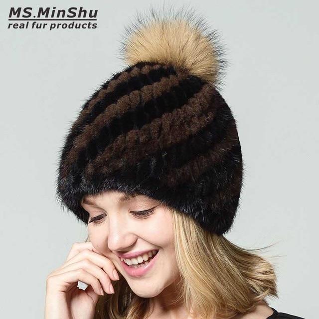 508ceaf8678 Ms.MinShu Mink Fur Beanies Cap With Fox Fur Pompoms For Women Female Cap  Winter